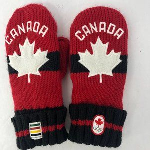 HBC Hudsons Bay Canada Olympic Knit Red Mittens